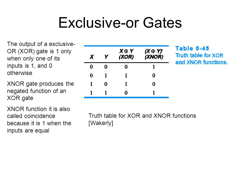 Exclusive-or Gates The output of a exclusive-OR (XOR) gate is 1 only when only one of its inputs is 1, and 0 otherwise.