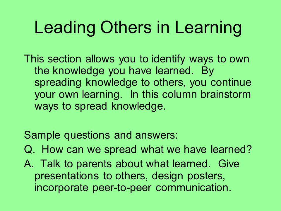 Leading Others in Learning