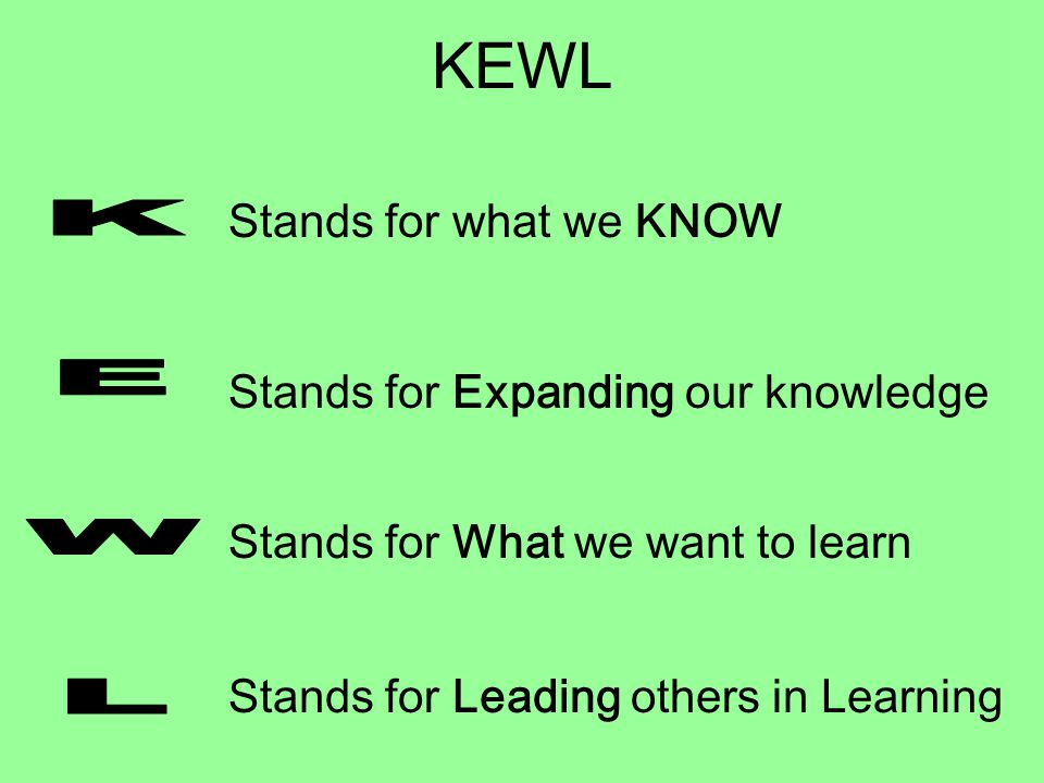 KEWL K E W L Stands for what we KNOW