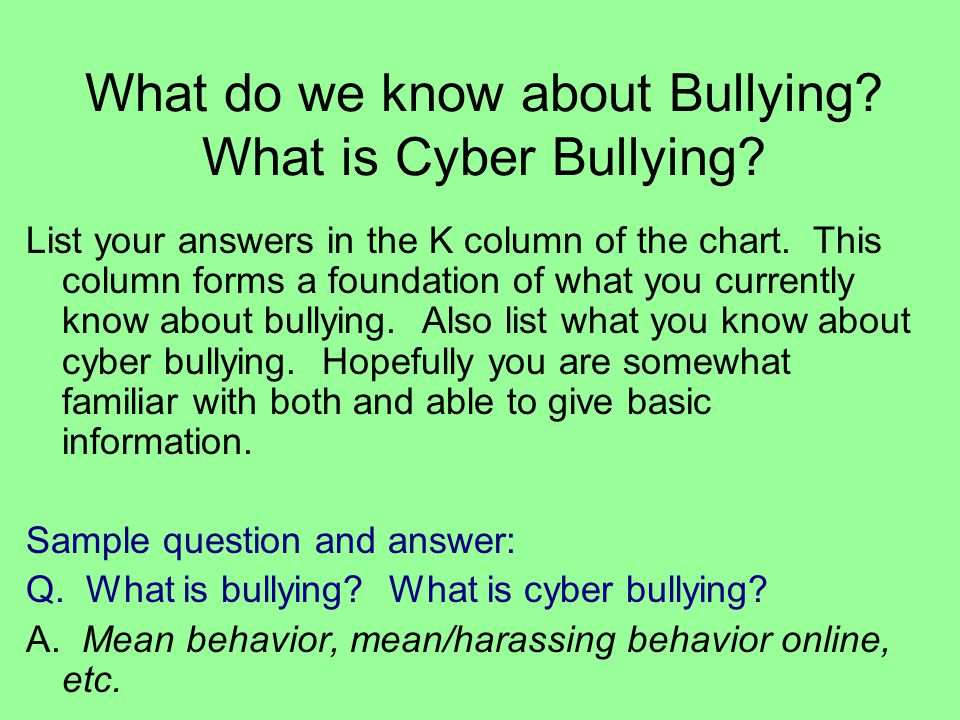 What do we know about Bullying What is Cyber Bullying
