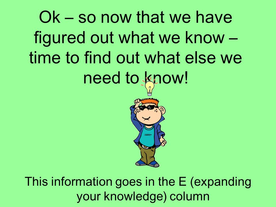 This information goes in the E (expanding your knowledge) column