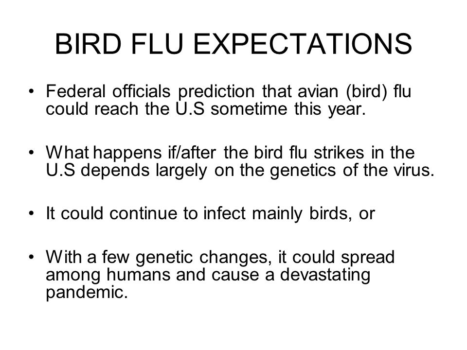 BIRD FLU EXPECTATIONS Federal officials prediction that avian (bird) flu could reach the U.S sometime this year.