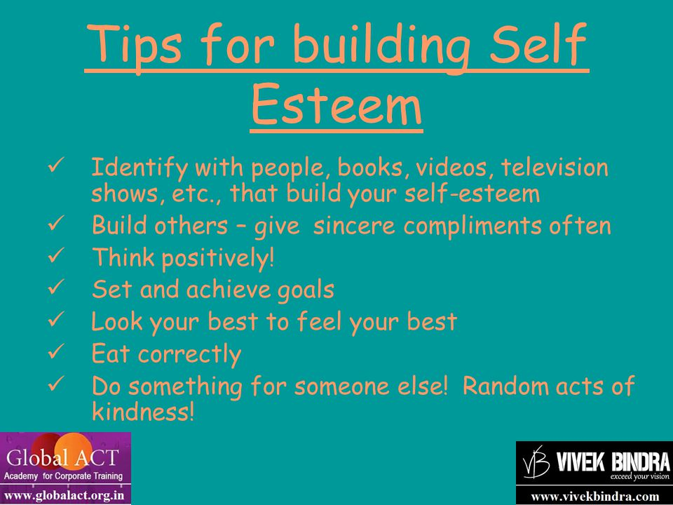 Tips for building Self Esteem