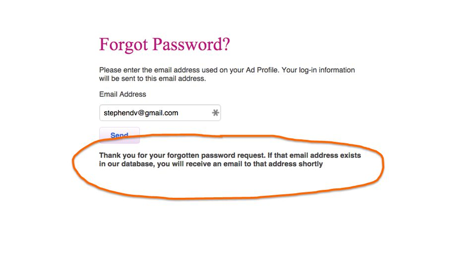 So they're modified their password reset function accordingly.