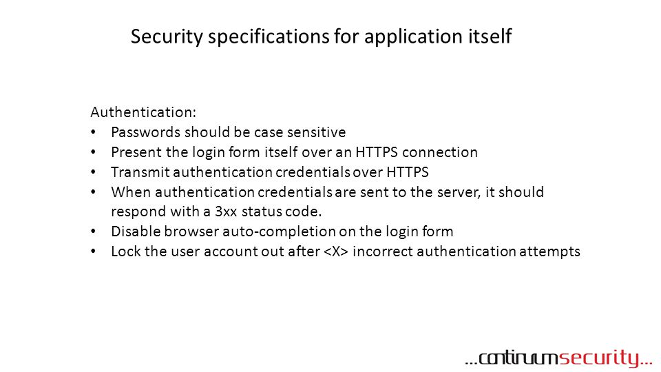 Security specifications for application itself