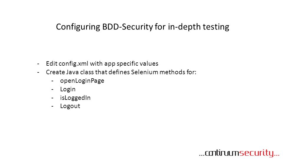 Configuring BDD-Security for in-depth testing