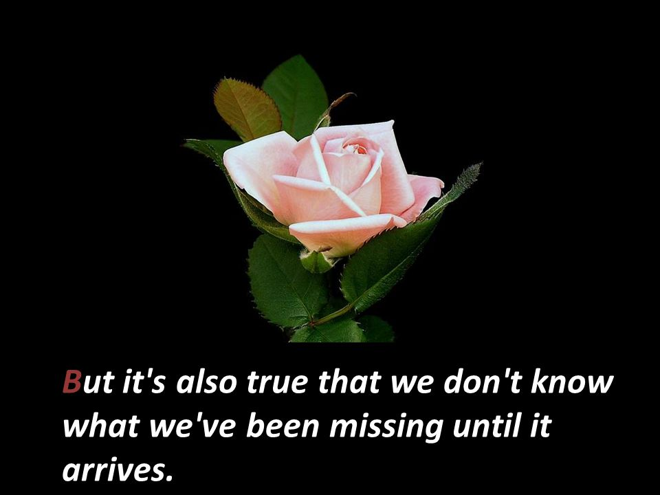But it s also true that we don t know what we ve been missing until it arrives.