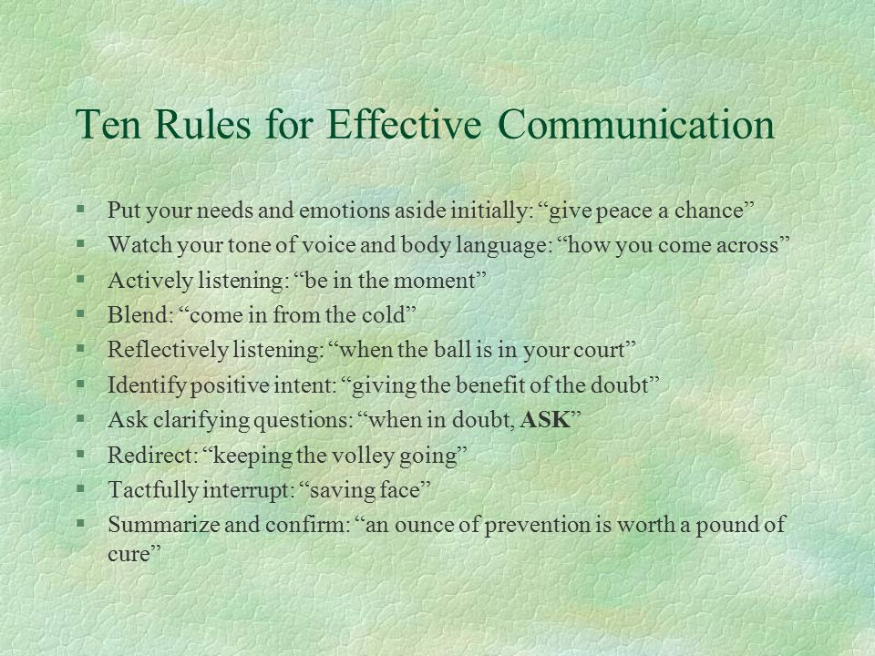 Ten Rules for Effective Communication