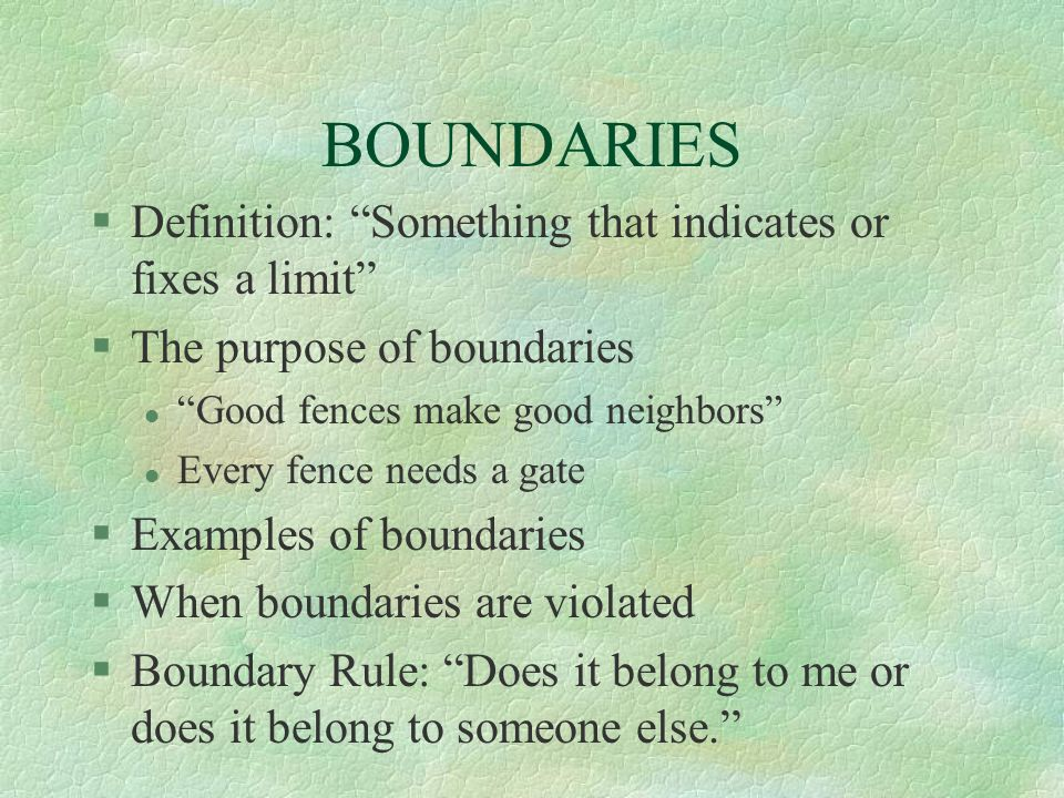 BOUNDARIES Definition: Something that indicates or fixes a limit