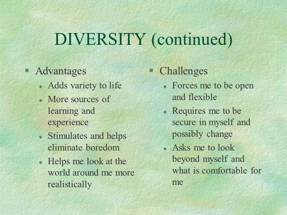 DIVERSITY (continued)