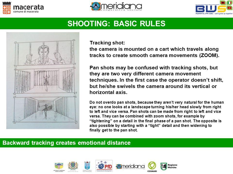 SHOOTING: BASIC RULES Backward tracking creates emotional distance