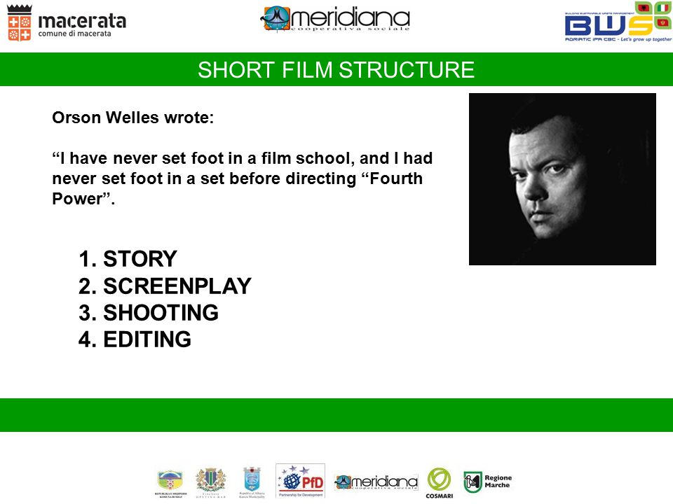 SHORT FILM STRUCTURE 1. STORY 2. SCREENPLAY 3. SHOOTING 4. EDITING