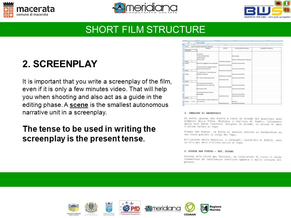 SHORT FILM STRUCTURE 2. SCREENPLAY