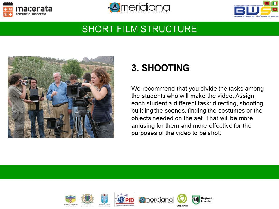 SHORT FILM STRUCTURE 3. SHOOTING
