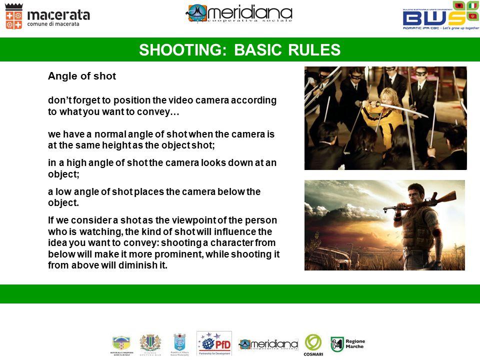 SHOOTING: BASIC RULES Angle of shot