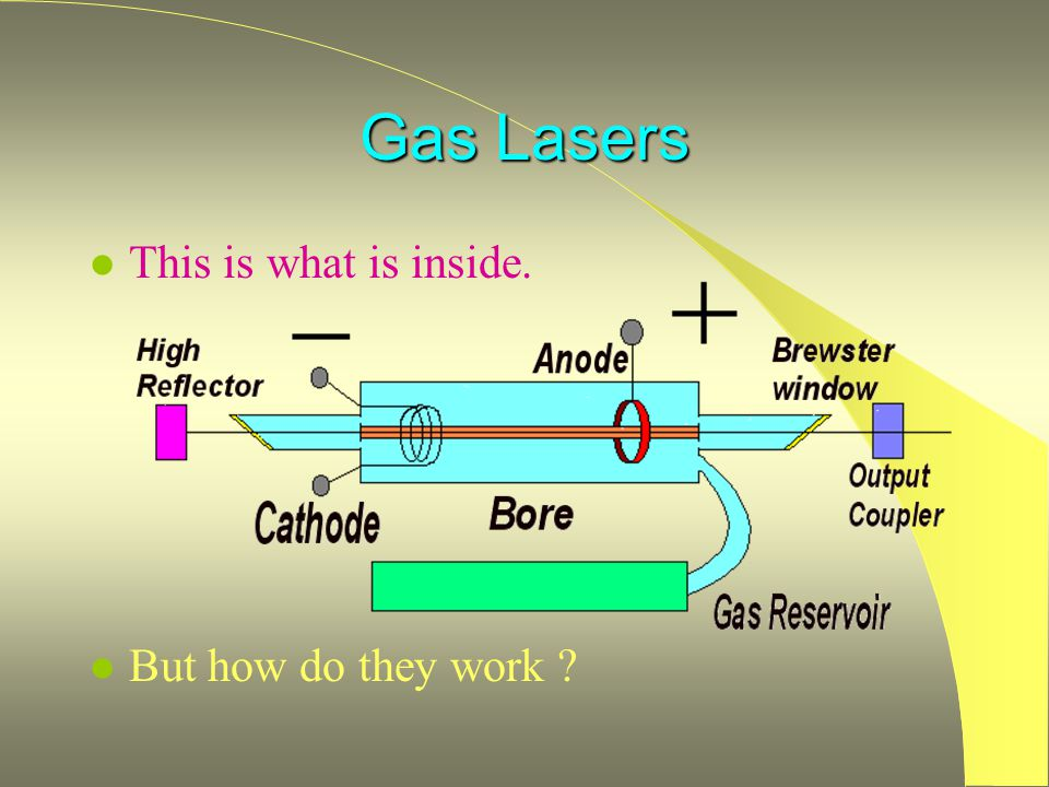 Gas Lasers This is what is inside. But how do they work