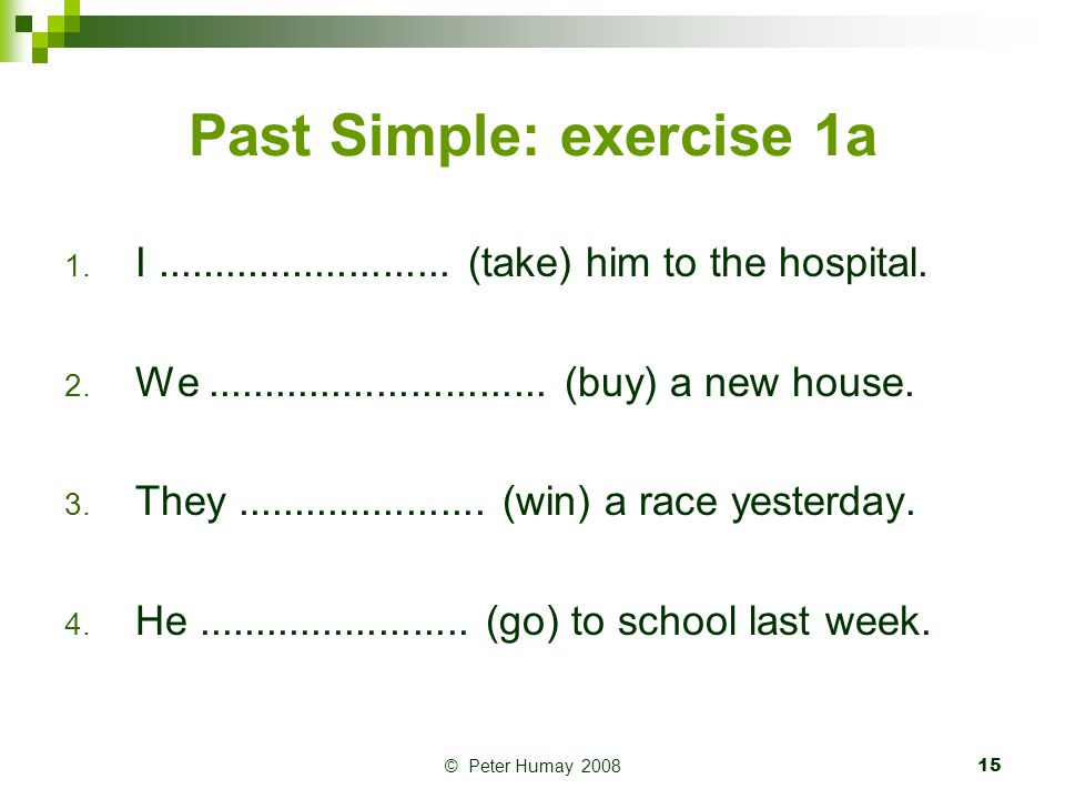 Past Simple: exercise 1a