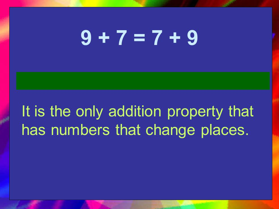 9 + 7 = 7 + 9 It is the only addition property that has numbers that change places.