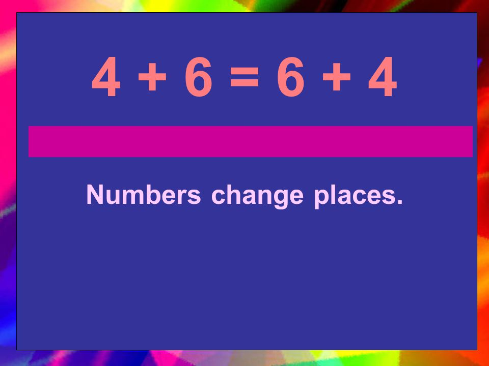 4 + 6 = 6 + 4 Numbers change places.