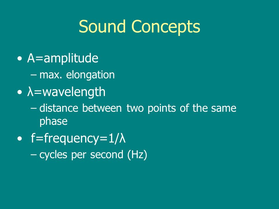 Sound Concepts A=amplitude λ=wavelength f=frequency=1/λ