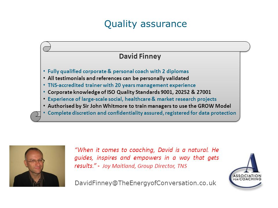 Quality assurance David Finney