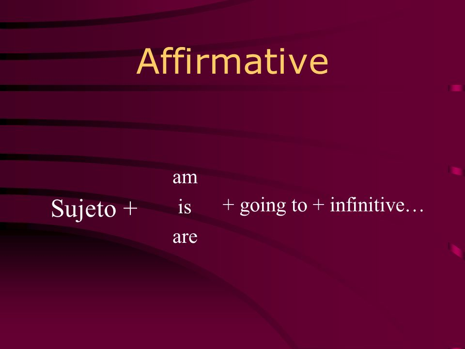 Affirmative am is are Sujeto + + going to + infinitive…