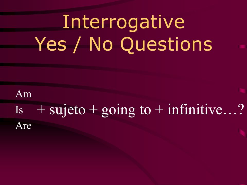 Interrogative Yes / No Questions