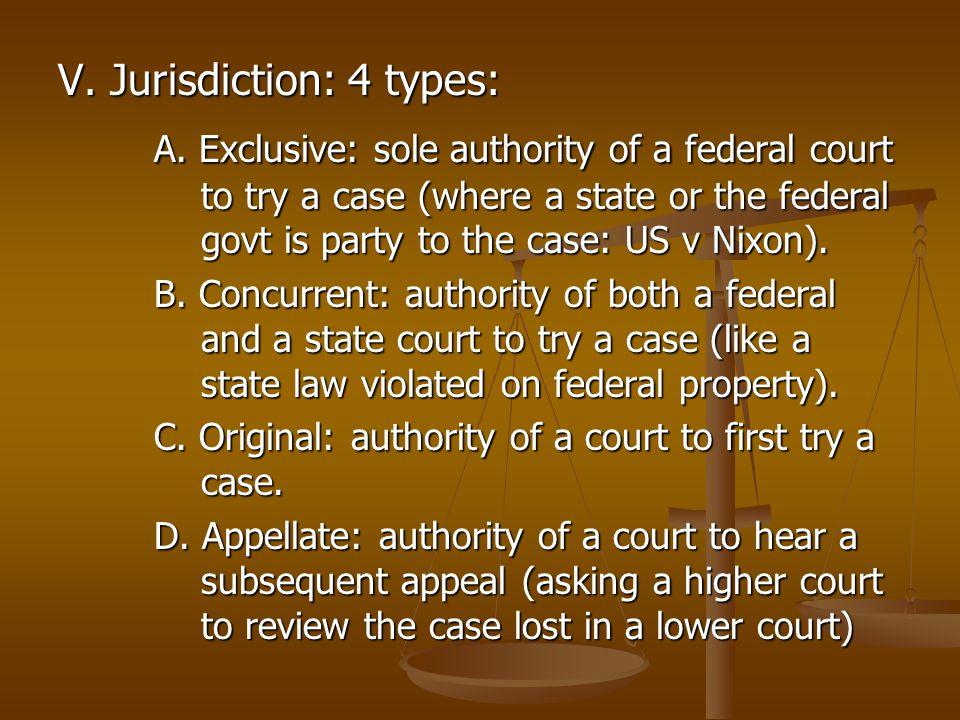 V. Jurisdiction: 4 types: