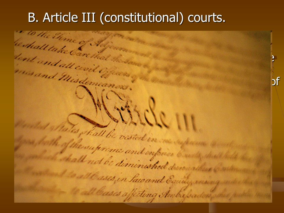 B. Article III (constitutional) courts.