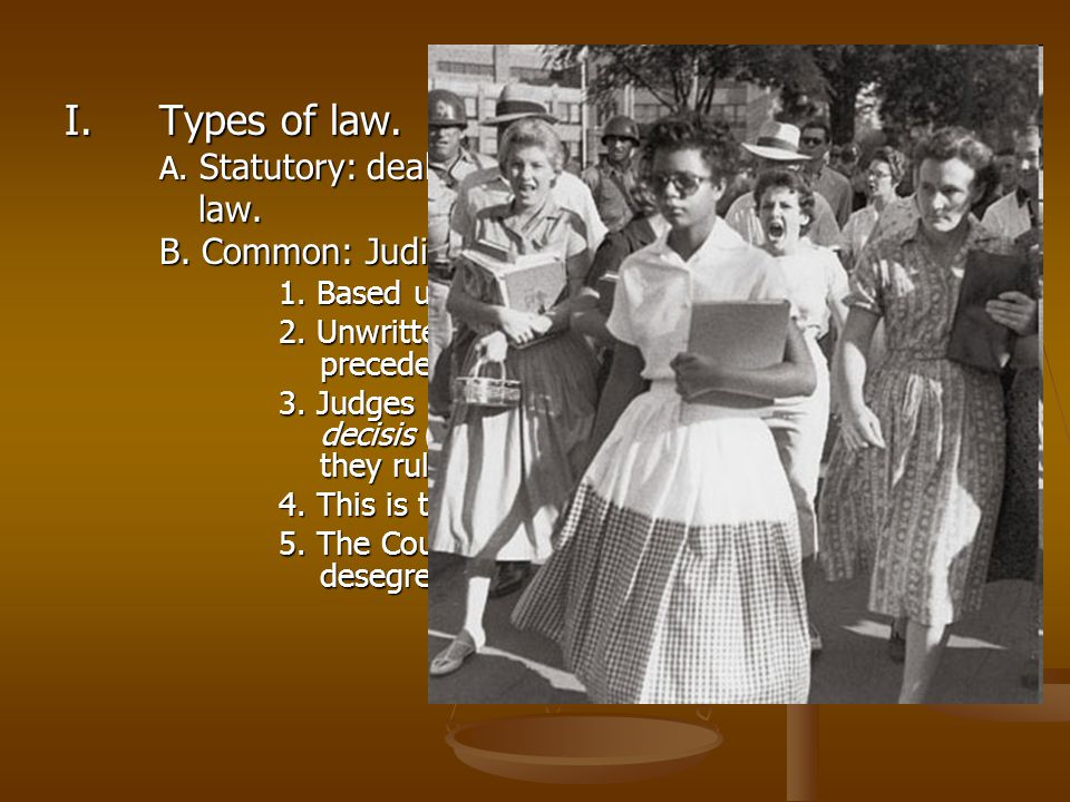 Types of law. law. B. Common: Judicial law.