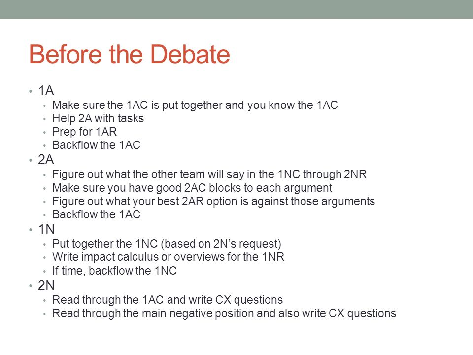 Before the Debate 1A. Make sure the 1AC is put together and you know the 1AC. Help 2A with tasks.