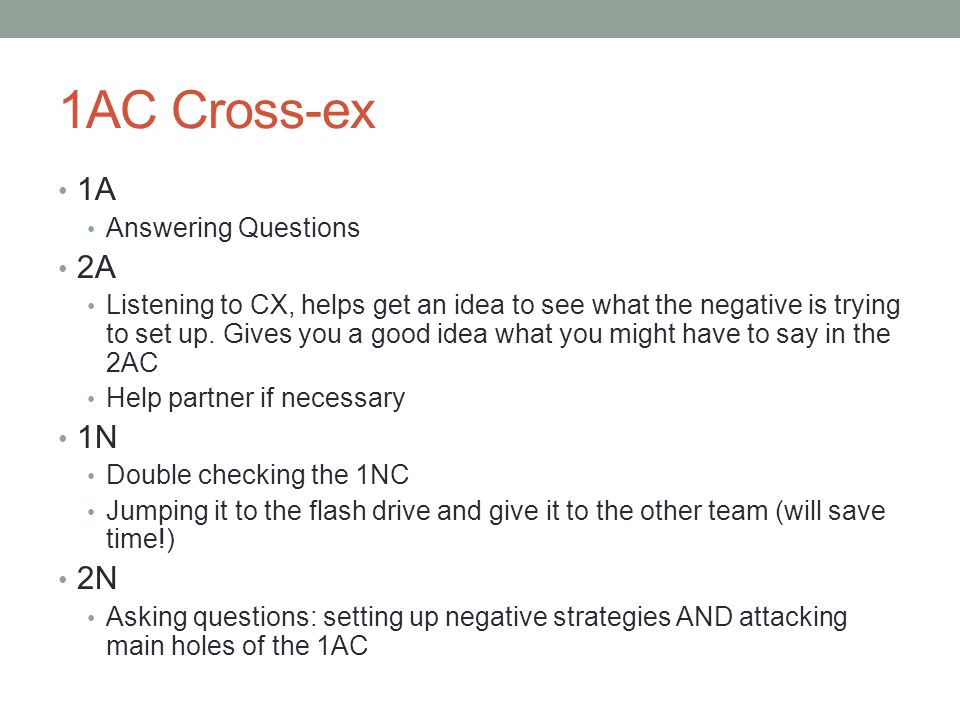 1AC Cross-ex 1A 2A 1N 2N Answering Questions