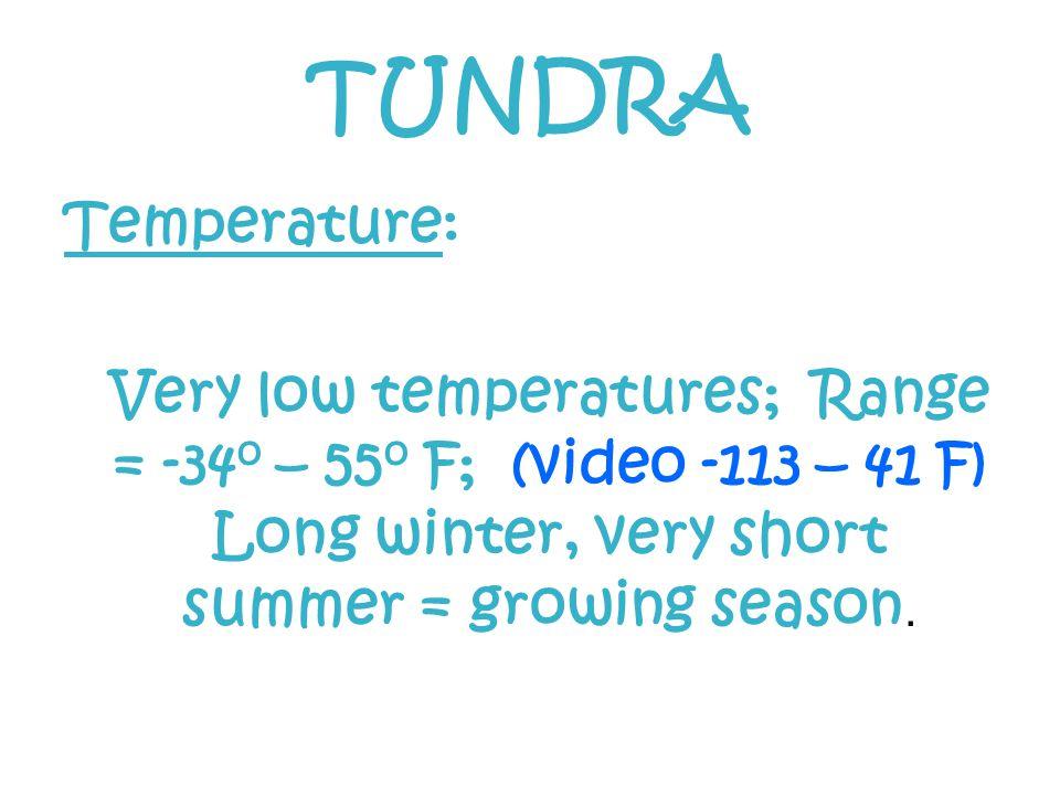 TUNDRA Temperature: Very low temperatures; Range = -34o – 55o F; (video -113 – 41 F) Long winter, very short summer = growing season.