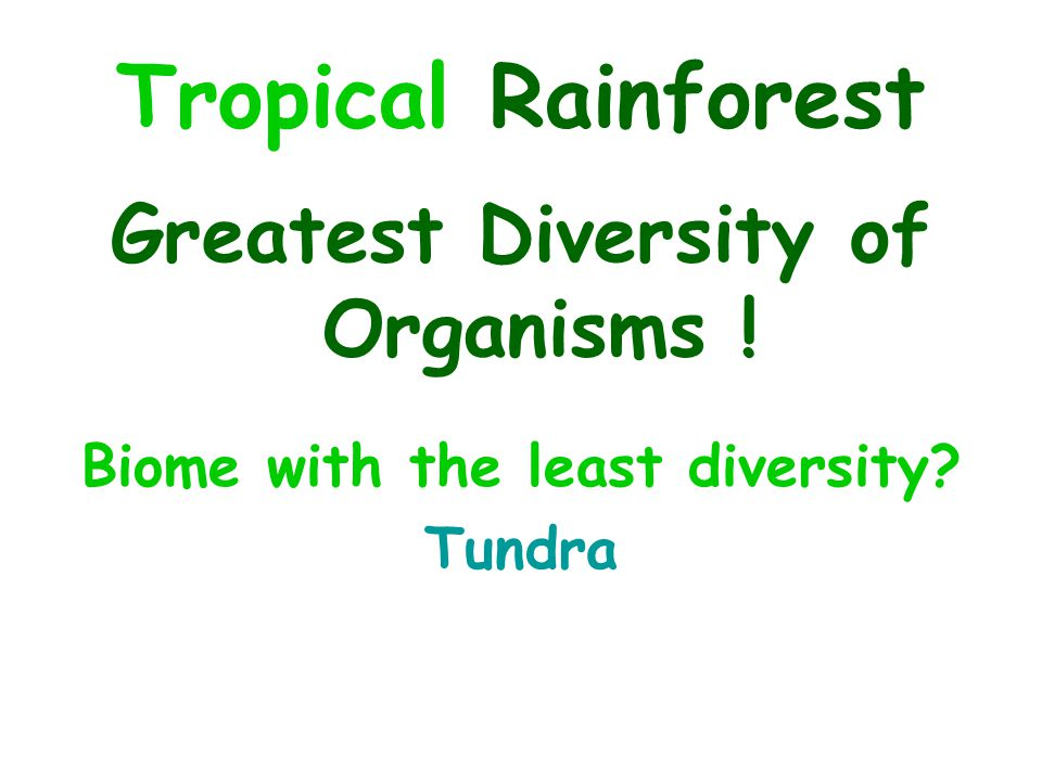 Greatest Diversity of Organisms ! Biome with the least diversity