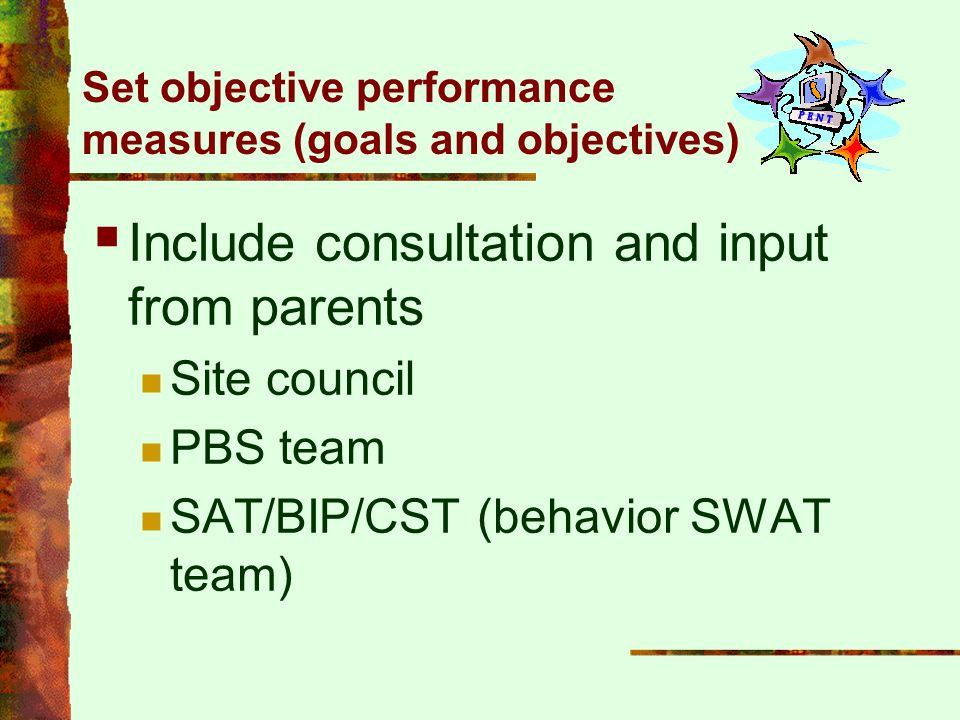 Set objective performance measures (goals and objectives)