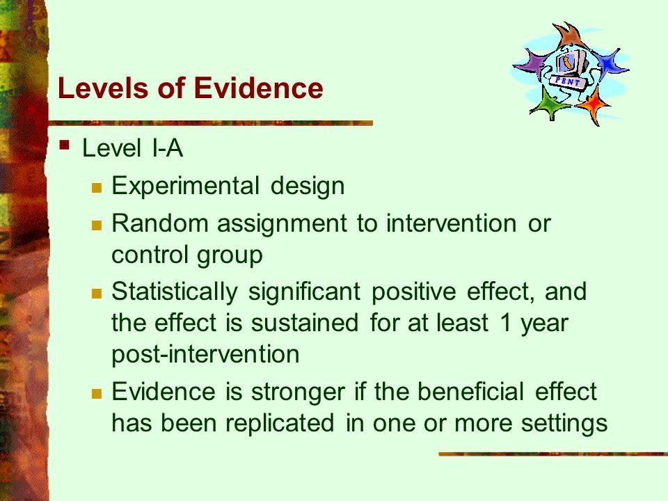Levels of Evidence Level I-A Experimental design
