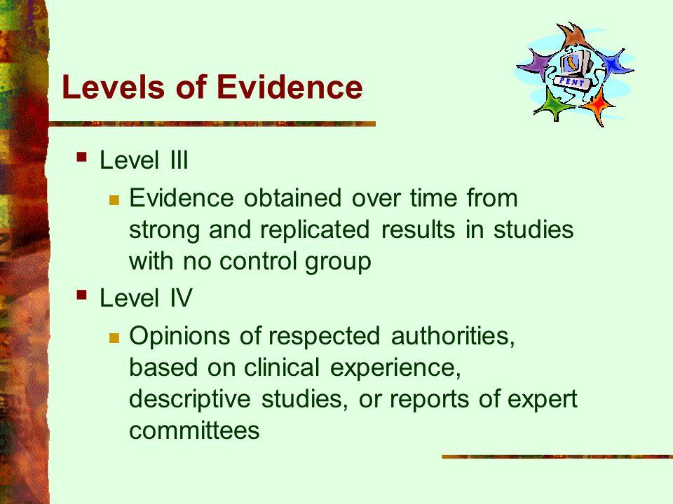Levels of Evidence Level III