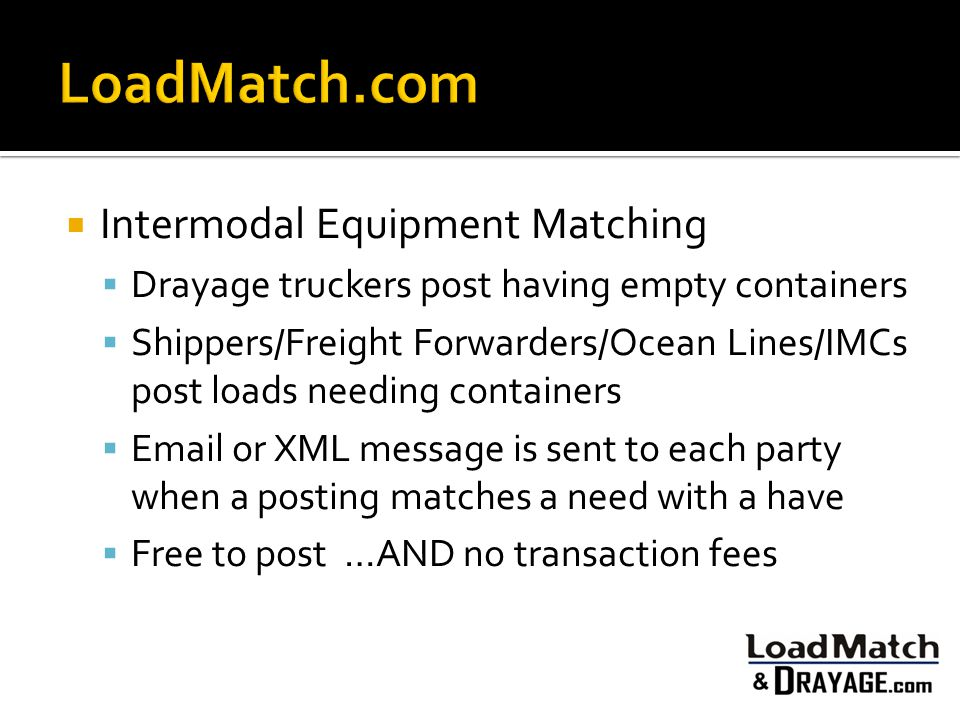 LoadMatch.com Intermodal Equipment Matching