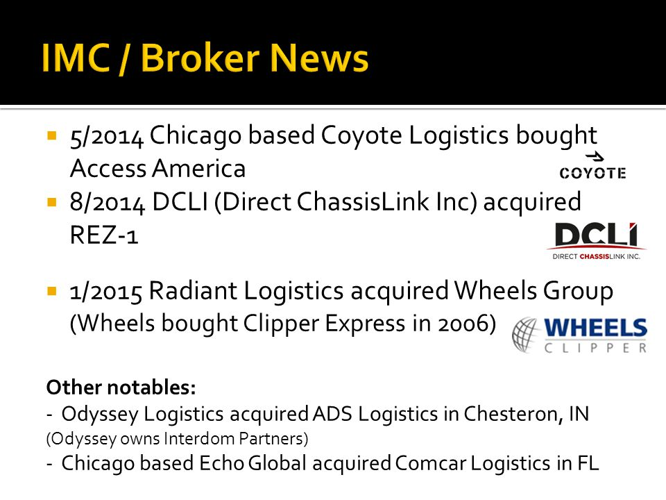 IMC / Broker News 5/2014 Chicago based Coyote Logistics bought Access America. 8/2014 DCLI (Direct ChassisLink Inc) acquired REZ-1.