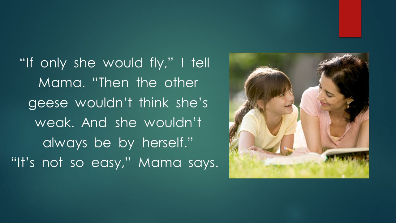 If only she would fly, I tell Mama