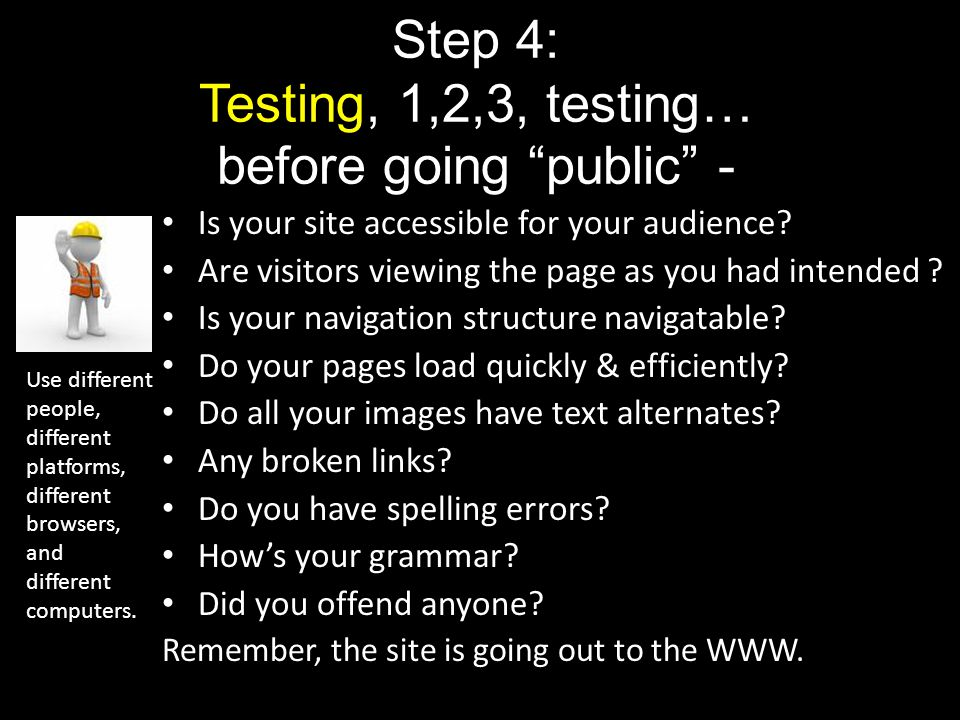 Step 4: Testing, 1,2,3, testing… before going public -