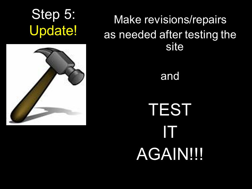 TEST IT AGAIN!!! Step 5: Update! Make revisions/repairs
