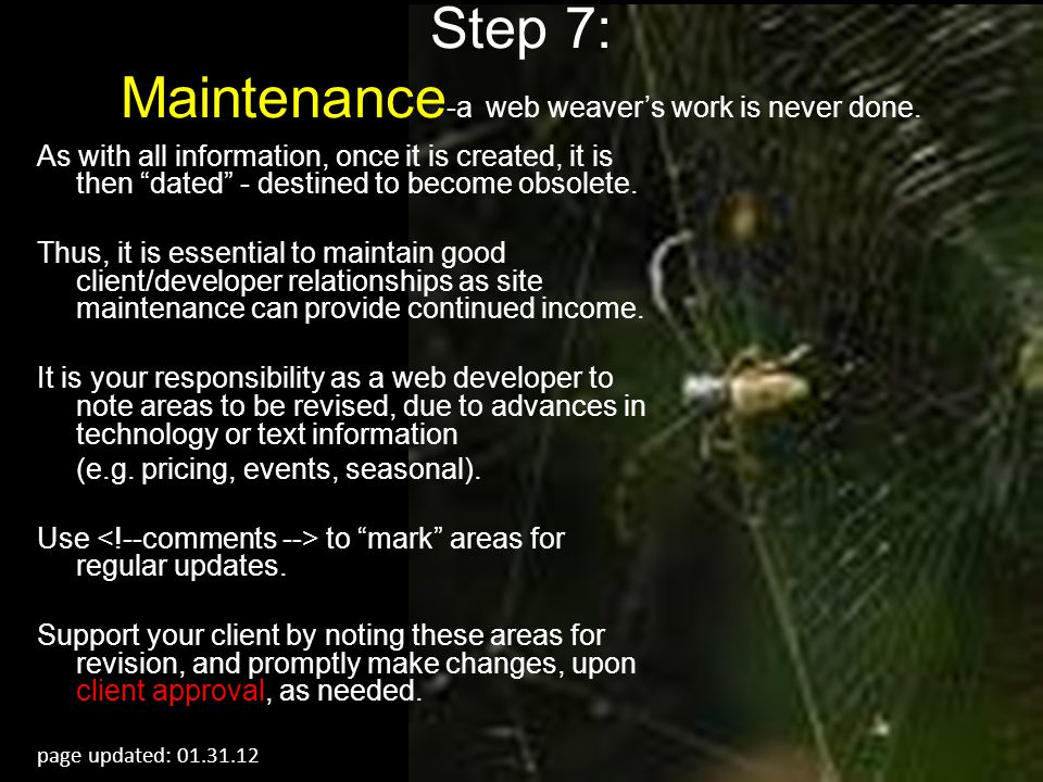 Step 7: Maintenance-a web weaver's work is never done.