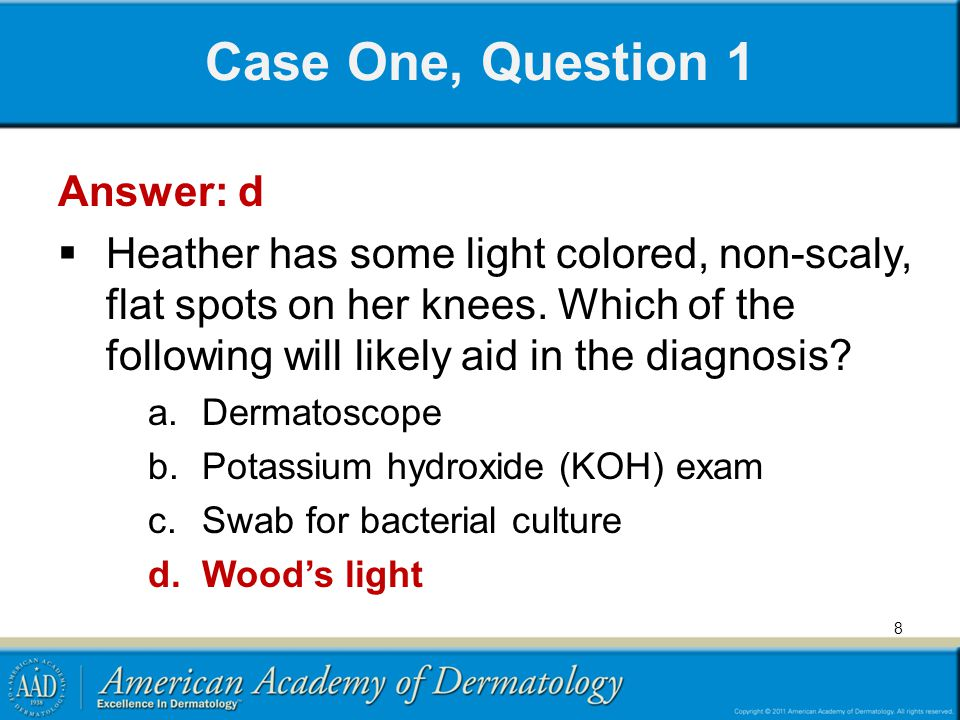 Case One, Question 1 Answer: d