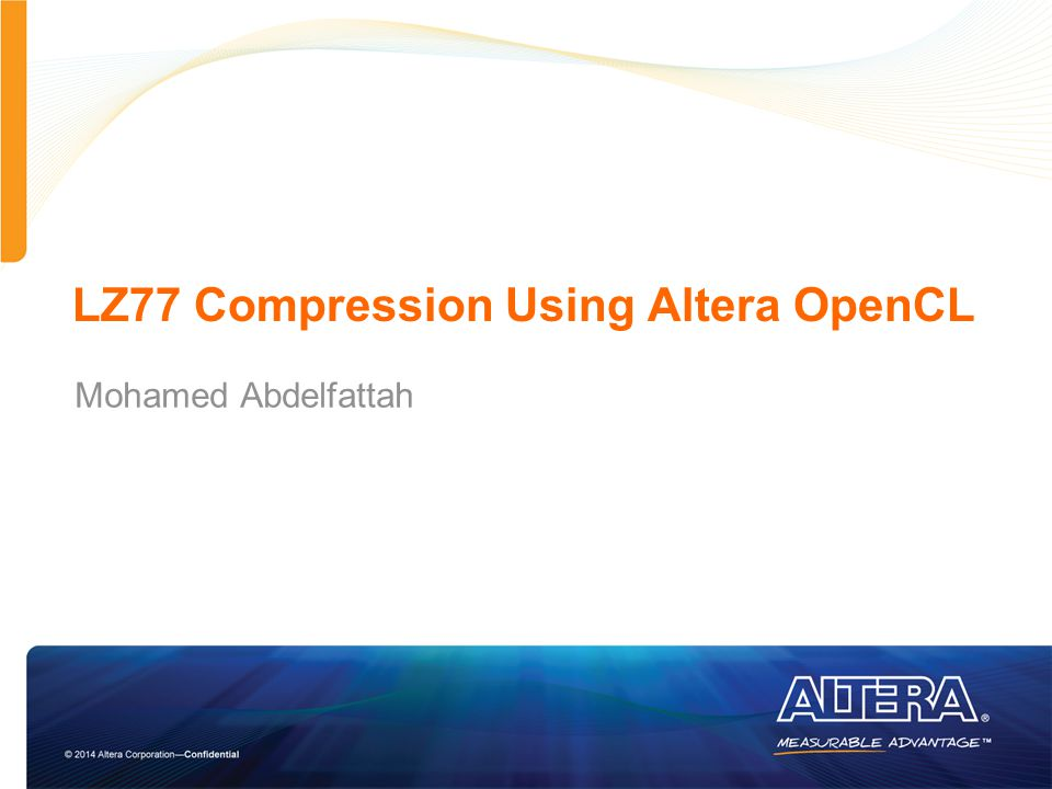 LZ77 Compression Using Altera OpenCL