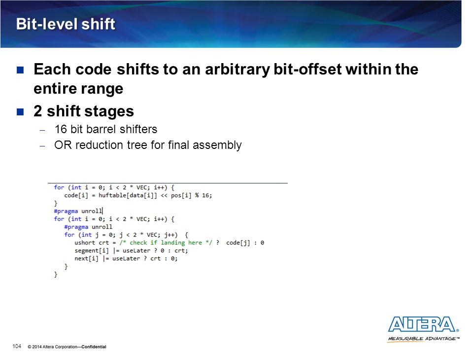 Each code shifts to an arbitrary bit-offset within the entire range