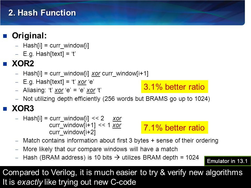 2. Hash Function Original: XOR2 XOR3 3.1% better ratio
