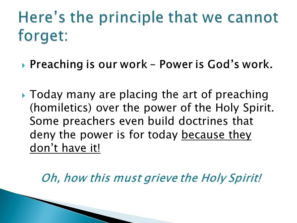 Here's the principle that we cannot forget: