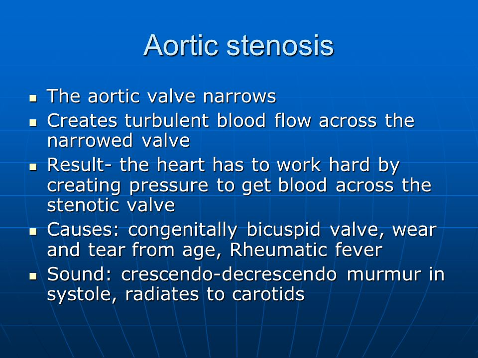 Aortic stenosis The aortic valve narrows