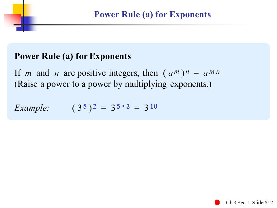 Power Rule (a) for Exponents